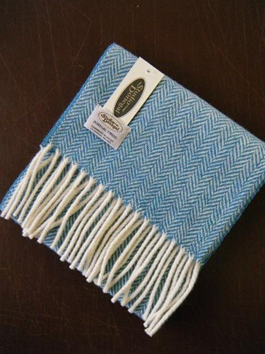 Studio Donegal Scarf in Teal with White Fringe