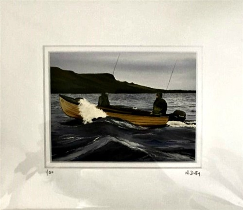 painting of 2 fishermen in a boat on Lough Melvin - print by Michelle Duffly
