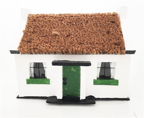Irish Thatched cottage Ornament with Green Door