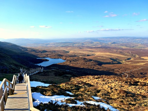 View over Lough Atona from near the top of the boardwalk on Cuilcagh mountain