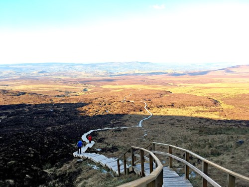 People walking on the Cuilcagh Mountian Boardwalk
