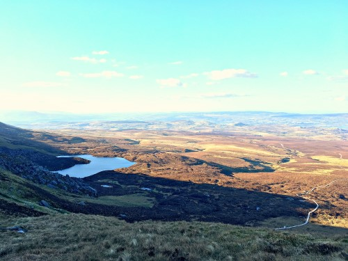 Lough Atona, the glacial lake on Cuilcagh Mountain
