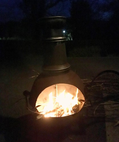 Bealtain Fire - Chiminea lit up at night