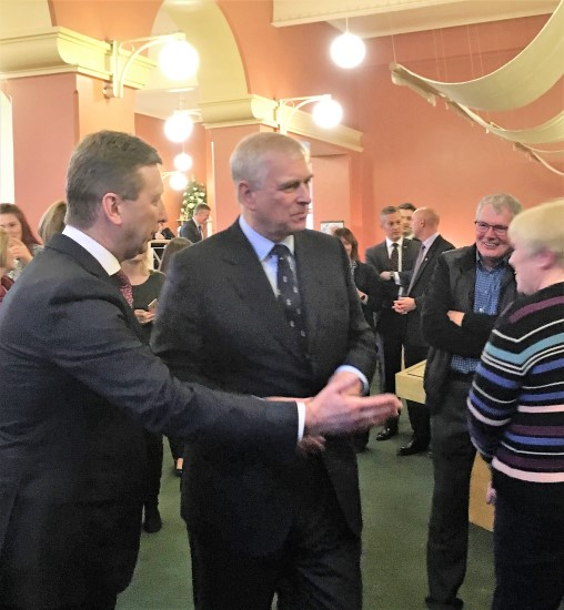 John Maguire, Managing Director of Belleek Pottery introduces HRH The Duke of York Prince Andrew to local business people.
