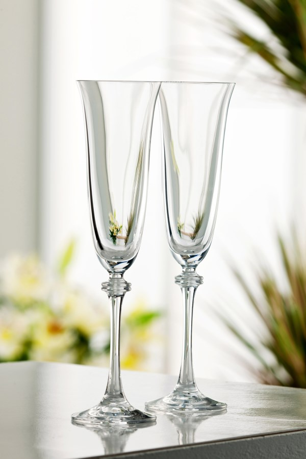 Galway Crystal Liberty Champagne Flutes Pair