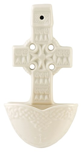 Belleek China Celtic Cross Holy Water Font
