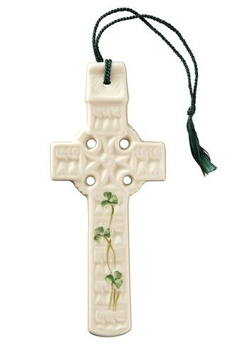 Belleek China Celtic Shamrock Wall Cross