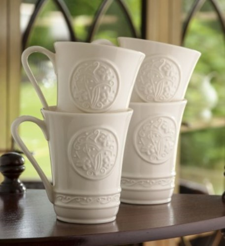 Belleek China Classic Irish Craft Mugs. Set of Four