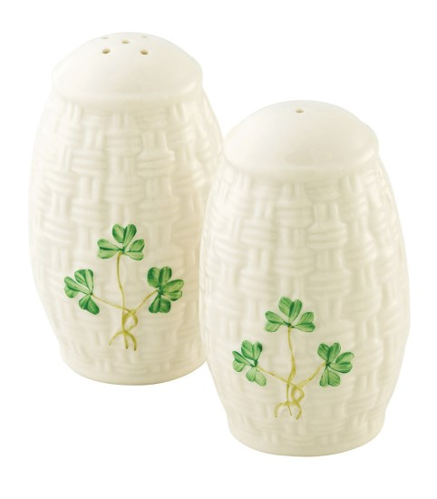 Belleek China Shamrock Salt and Pepper Set