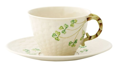 Belleek China Shamrock Teacup and Saucer