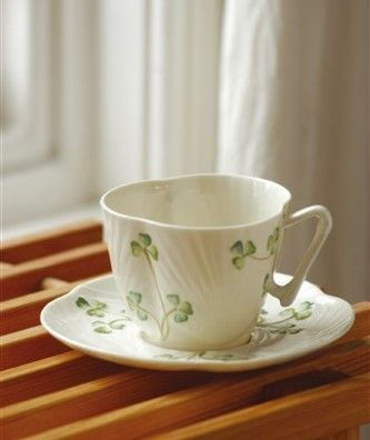 Belleek Harp Shamrock Teacup and Saucer