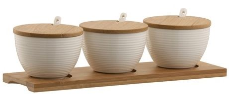 Belleek Living Ripple Three Bowls Set With Tray