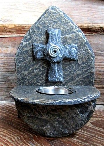 Celtic Cross Holy Water Font Slate