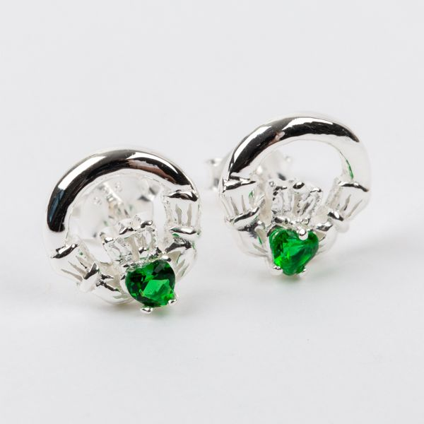 Claddagh Earrings Sterling Silver Green CZ Stone