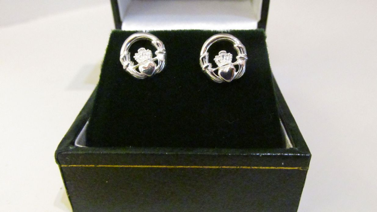 earrings cz claddagh heritage stud celtic image