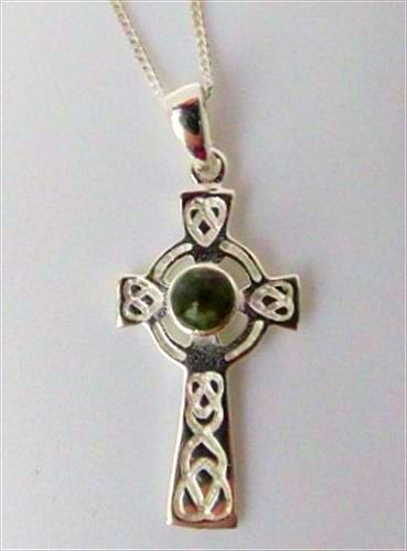 Connemara Marble Celtic Cross Pendant Sterling Silver