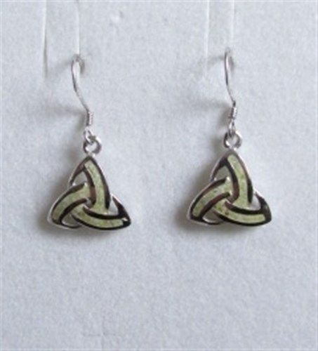 Connemara Marble Trinity Knot Drop Earrings Sterling Silver