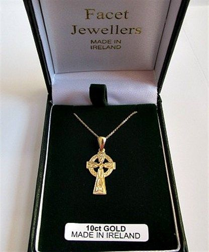 Facet Gold Celtic Cross Pendant 10 carat