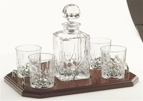 Galway Crystal Longford Whiskey Decanter Set With Tray