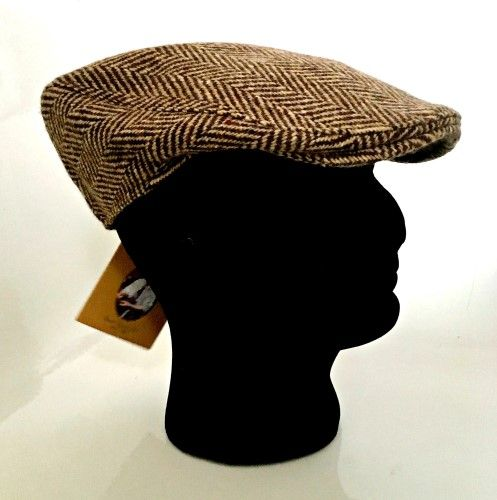 Hanna Hats Irish Tweed Herringbone Peaked Cap - Medium (A01)