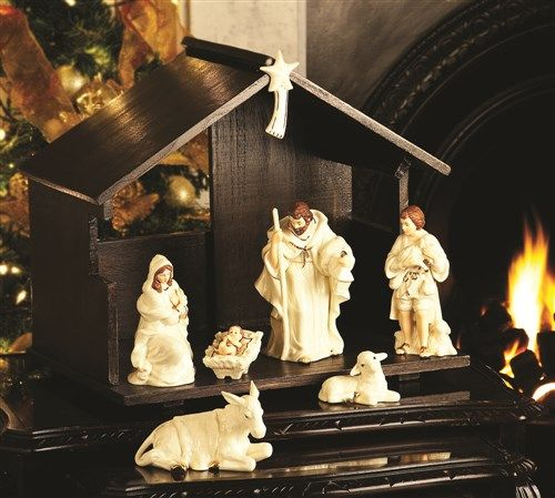 Irish Belleek Holiday Christmas Classic Nativity Set. Figurines, Stable & Star