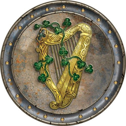 Irish Celtic Drinks Coaster. Harp and Shamrocks