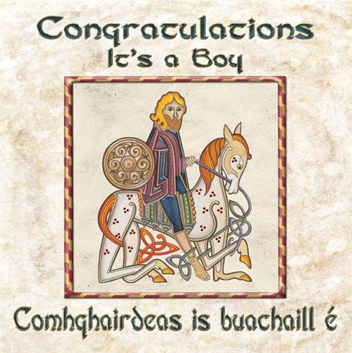 Irish Celtic New Baby Boy Congratulations Card