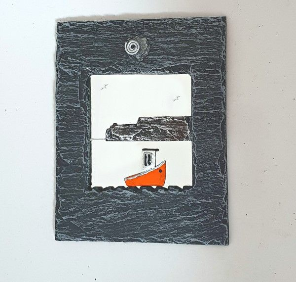 Irish Fishing Boat Slate Mirror