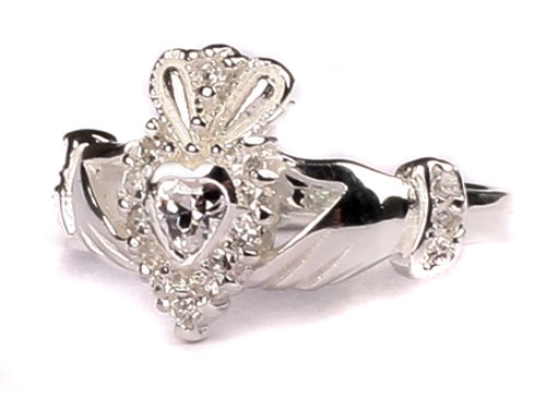 Ladies Sterling Silver Claddagh Ring April Birthstone