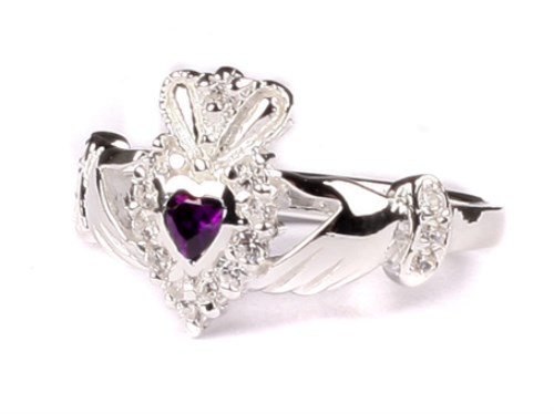 Ladies Sterling Silver Claddagh Ring February Birthstone