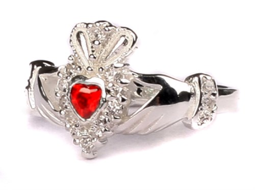 Ladies Sterling Silver Claddagh Ring January Birthstone