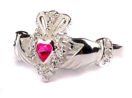 Ladies Sterling Silver Claddagh Ring July Birthstone