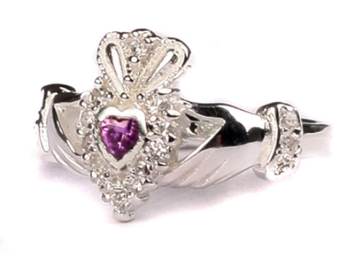 Ladies Sterling Silver Claddagh Ring June Birthstone