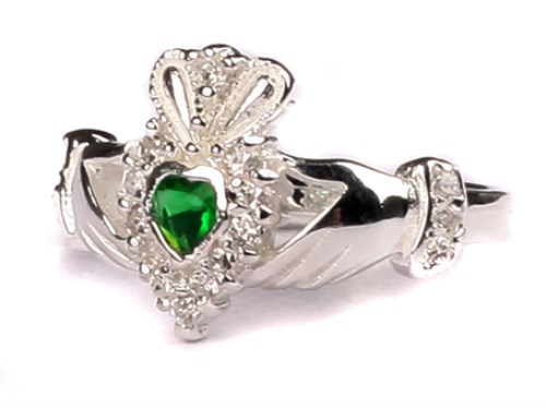 Ladies Sterling Silver Claddagh Ring May Birthstone Emerald Green