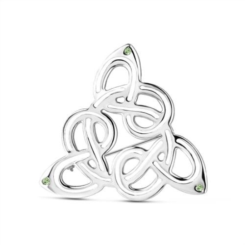 Newbridge Silver Celtic Brooch Green Stones