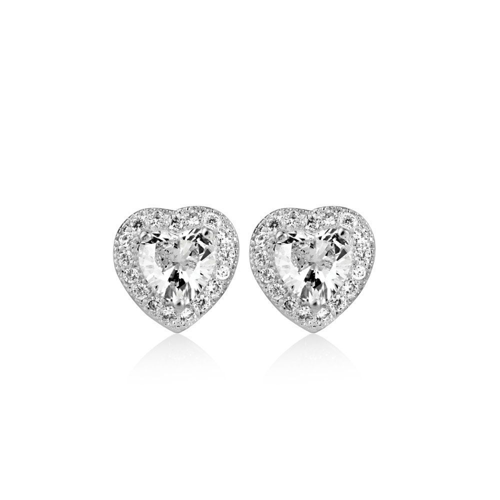 Newbridge Silverware Clear Stone Heart Shaped Earrings