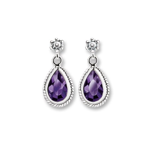 Newbridge Silverware Drop Earrings Purple and Clear Stones