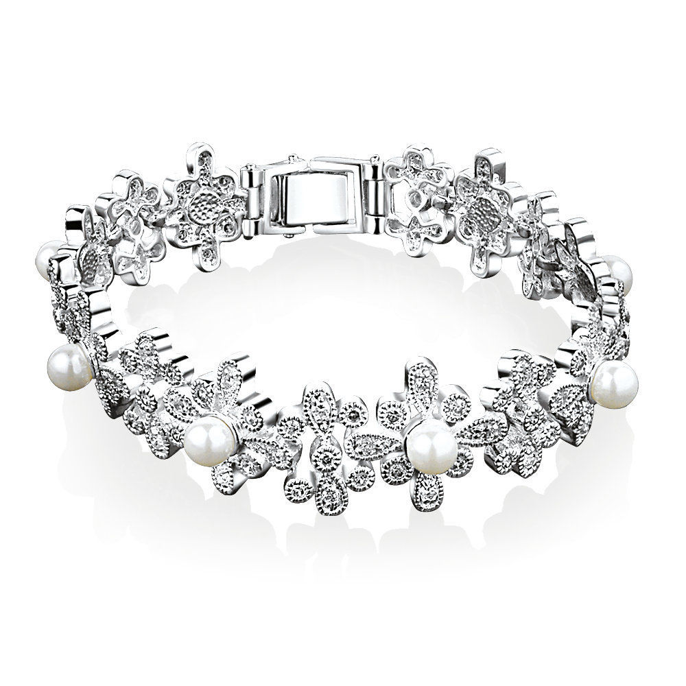 Newbridge silverware Grace Kelly Floral Pearl Bracelet