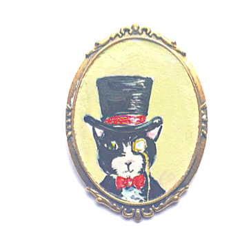 Party Cat Brooch - Monocle