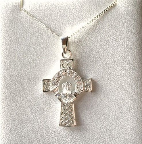 Sterling Silver Celtic Cross Pendant with Clear CZ Stones