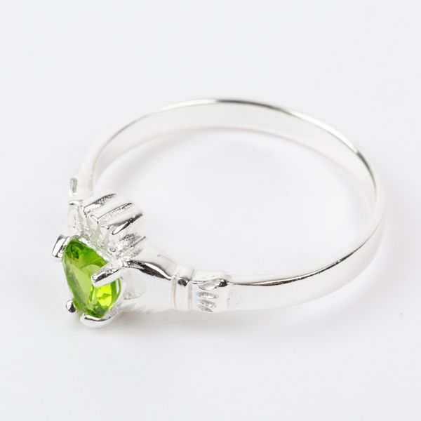 Sterling Silver Claddagh Ring Birthstone for August