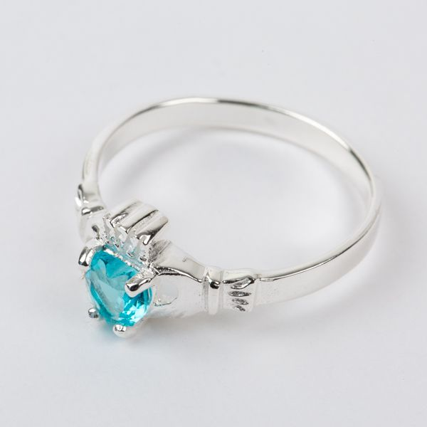 Sterling Silver Claddagh Ring Birthstone for March