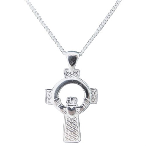 Sterling Silver Irish Celtic Cross Claddagh Pendant
