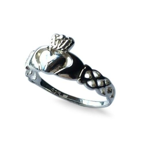 Sterling Silver Ladies Claddagh Ring Celtic Knotwork