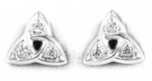 Sterling silver Trinity Knot Studs with Clear Cubic Zirconia
