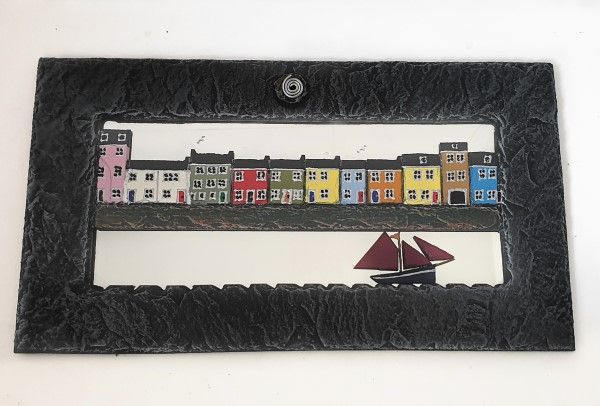 The Long Walk Galway Slate Mirror With Traditional Hooker