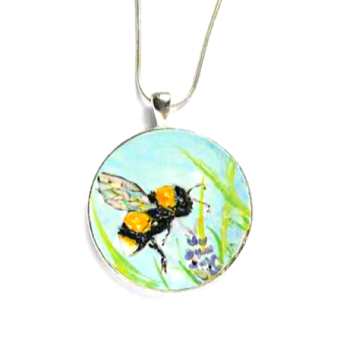 Bumble Bee Necklace - Hand painted bee on flower